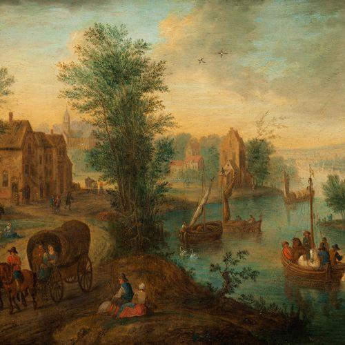 Joseph van Bredael,1688 Antwerpen – 1739 Paris, zugeschrieben FLUSSLANDSCHAFT MI…