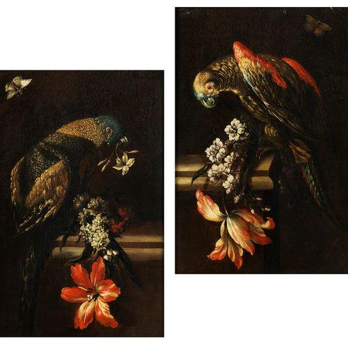 Römische Schule des 18. Jahrhunderts Gemäldepaar STILLLEBEN MIT PAPAGEIEN UND BL…