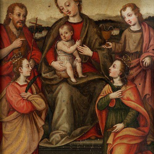Umbrischer Meister des 16. Jahrhunderts DIE MADONNA MIT DEM KIND AUF EINEM THRON…