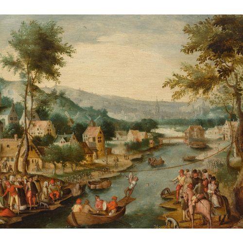 Flämischer Meister des ausgehenden 16. Jahrhunderts FLUSSLANDSCHAFT MIT STADT UN…