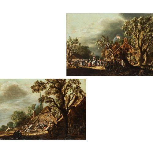 Haarlemer Meister des 17. Jahrhunderts Gemäldepaar MARKTTAG sowie VOR DEM WIRTSH…