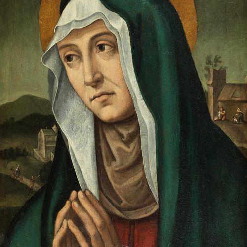 Italienischer Meister des 16./ 17. Jahrhunderts HEILIGE ANNA Öl auf Holz. 48 x 3…