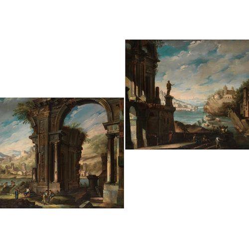 Pietro Gaspari, um 1720 Venedig – um 1785 ebenda PAAR FLUSSLANDSCHAFTEN MIT ARCH…