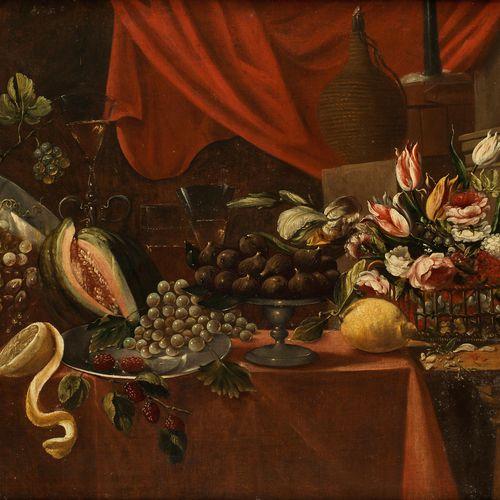 Italienischer Meister des 17. Jahrhunderts STILLLEBEN MIT BLUMENBOUQUET, FEIGEN,…