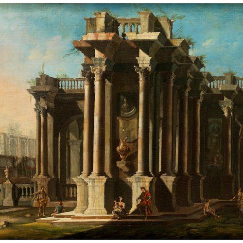 Maler des 18. Jahrhunderts ITALIENISCHES ARCHITEKTURCAPRICCIO Öl auf Leinwand. 7…