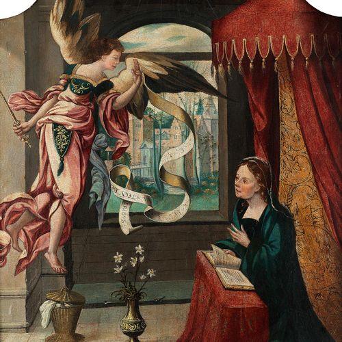 Flämischer Meister des 16. Jahrhunderts MARIÄ VERKÜNDIGUNG Öl auf Holz. 87 x 55,…