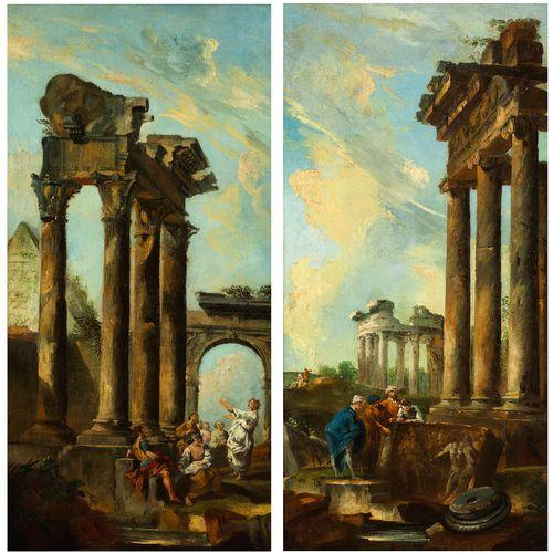 Giovanni Paolo Panini und Werkstatt, 1691 Piacenza – 1765 Rom 画作一对 ANTIQUE TEMPL…