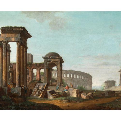 Italienischer Maler des 18. Jahrhunderts CAPRICCIO MIT DEM KOLOSSEUM IN ROM Öl a…