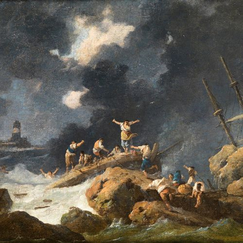 Jean Baptiste Pillement, 1728 Lyon – 1808 ebenda DIE SCHIFFBRÜCHIGEN Öl auf Lein…