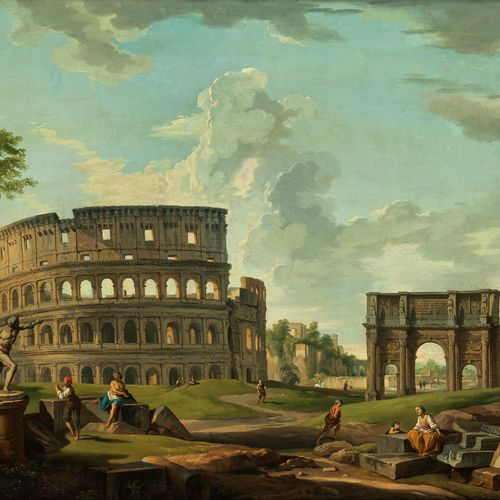 Giovanni Paolo Panini, 1691 Piacenza – 1765 Rom FORUM IN ROM MIT COLOSSEUM, KONS…