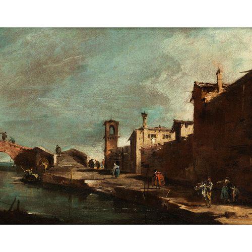 Francesco Guardi, 1712 Venedig – 1793 ebenda CAPRICCIO MIT EINER BRÜCKE ÜBER EIN…