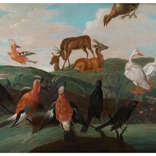 Jan van Kessel d. Ä., um 1626 – 1679 LANDSCHAFT MIT REHWILD UND VÖGELN Öl auf Ho…