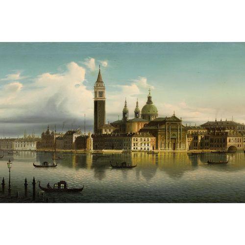 Maler des 19. Jahrhunderts VENEDIG – VEDUTE VON SAN GIORGIO MAGGIORE Öl auf Lein…