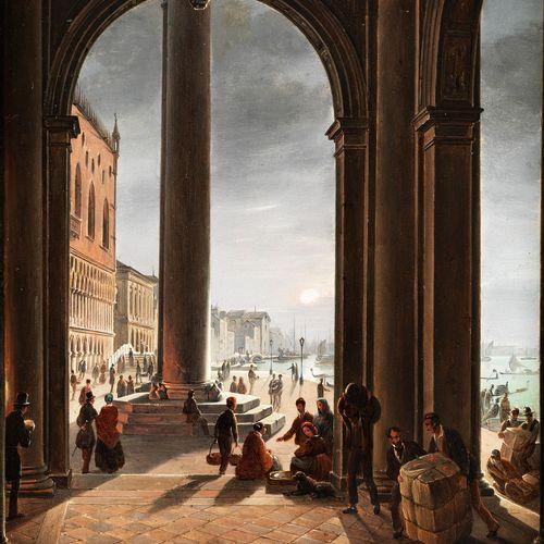 Frans Vervloet, 1795 Mechelen – 1872 Venedig ANSICHT VON VENEDIG Öl auf Holz. 30…