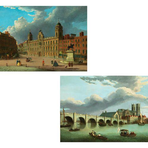 Maler des 18./ 19. Jahrhunderts 一对画VEDUTES OF LONDON 布面油画。每幅76 x 127厘米。第一幅画展示了16…