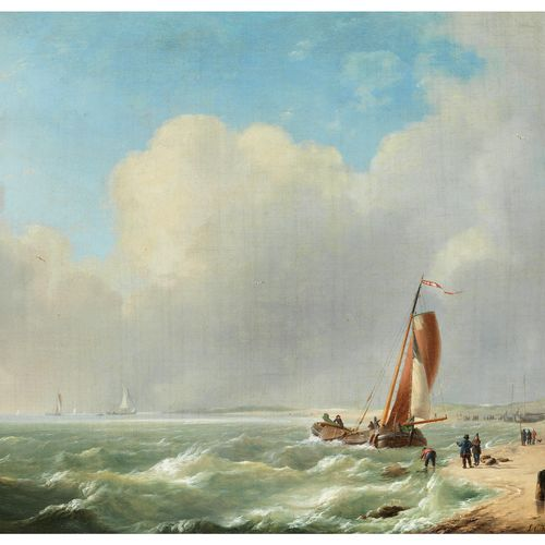 Charles Louis Verboeckhoven, 1802 Warneton – 1889 Brüssel ANLANDENDES SEGELSCHIF…