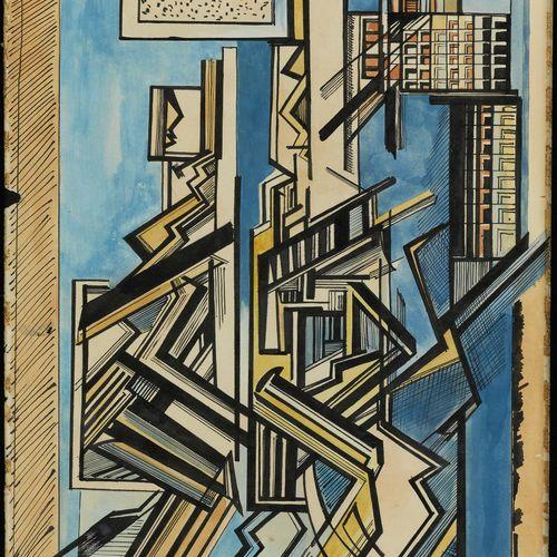 Walter Lewis, Künstler des 20. Jahrhunderts KOMPOSITION Aquarell und Tempera auf…