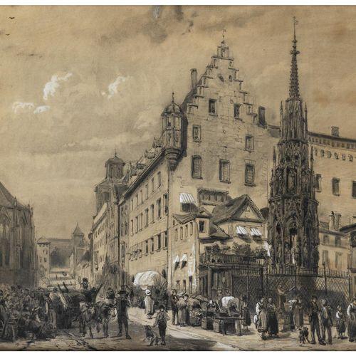 Cornelis Springer, 1817 Amsterdam – 1891 Hilversum NÜRNBERGER HAUPTMARKT MIT DEM…
