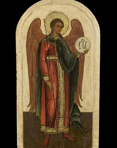 Ikonen Large orthodox Icon showing the Archangel Michael from an iconostasis. Ru…