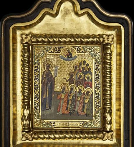 Ikonen Icon showing the Bogolubskaya Mother of God within Kyot. Russian, 19th ce…