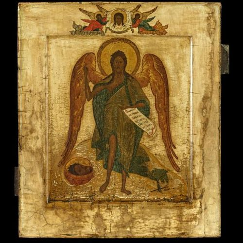 Ikonen Icon showing St. John the Forerunner as Angel of the Desert. Russian, 19t…
