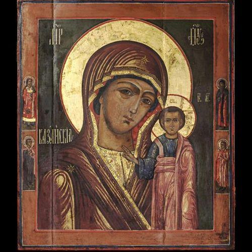 Ikonen Icon showing the Kazanskaya Mother of God. Russian, mid 19th century. Tem…