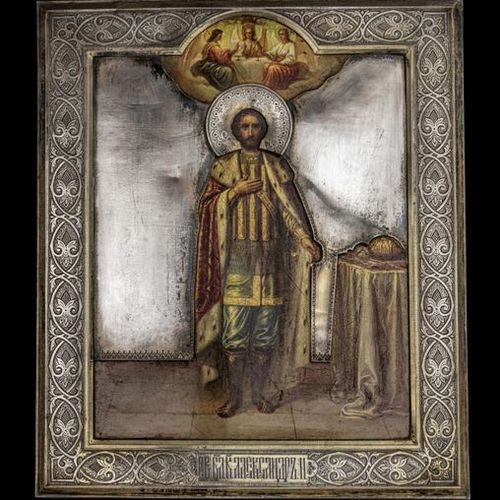 Ikonen Icon showing the Alexander Nevsky with Silveroklad. Russian, 1896 1908. O…