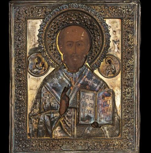 Ikonen Icon showing St. Nicholas of Myra with a gold plated silver oklad. Russia…