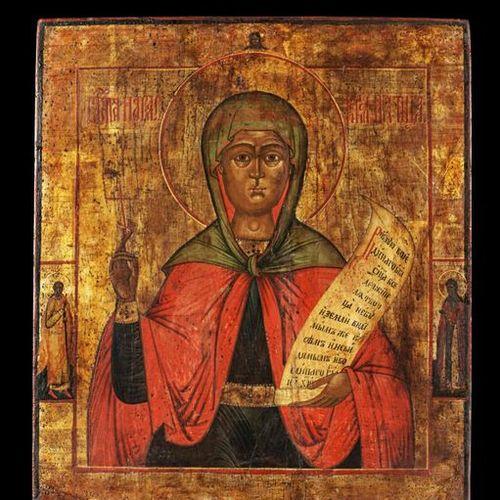 Ikonen Icon showing the Martyr Saint Paraskeva. Russian, 19th century. Tempera o…