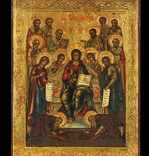 Ikonen Icon showing the Extended Deisis. Russian,19th century.Tempera on wood pa…