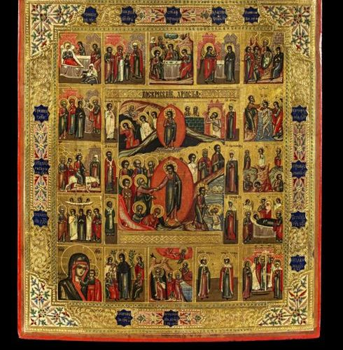 Ikonen Icon showing the Resurrection and the Anastasis, the festival cycle and s…