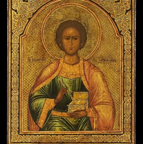 Ikonen Icon showing St. Panteleimon. Russian, around 1900. Tempera on wood panel…