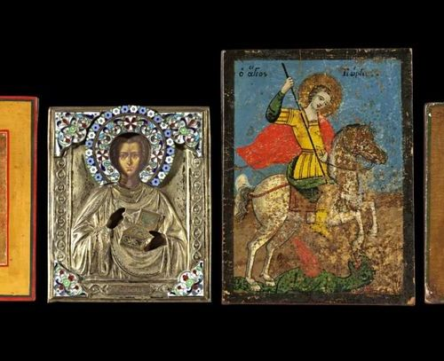 Ikonen Four Orthodox Icons. The Tikhvinskaya Mother of God, Russian,19th century…