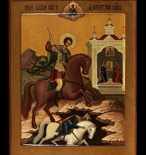 Ikonen Icon showing the 'Great Martyr' Demetrios of Thessaloniki impales Tsar Ka…