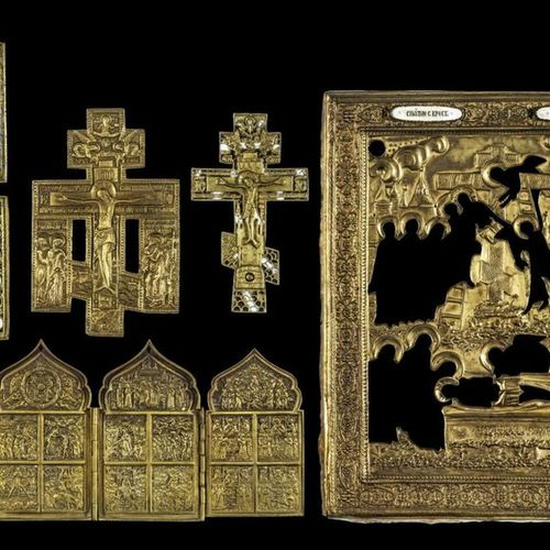 Ikonen Collection of two Crucifixes, a Quadriptych showing the main Feasts of th…