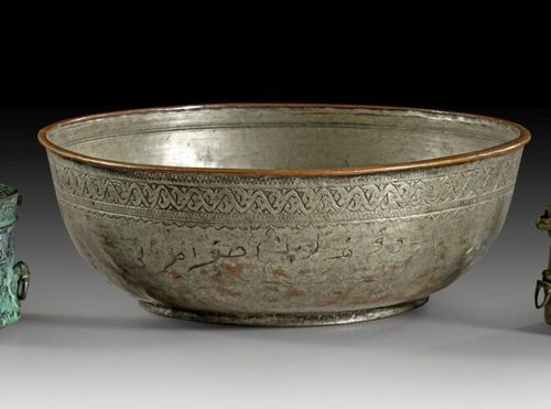 ISLAM Collection of two bronze inkwells and one silvered bronze bowl: Round, cyl…