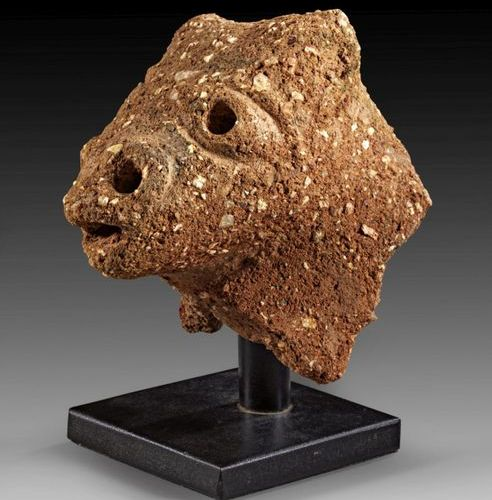 LOT Nok, Nigeria, small animal head with indicated horns, open snout and pierced…