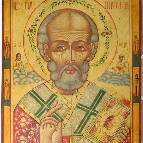 "Large icon painted on wood representing ""Saint Nicolas"". Russian work. Period: 1…"
