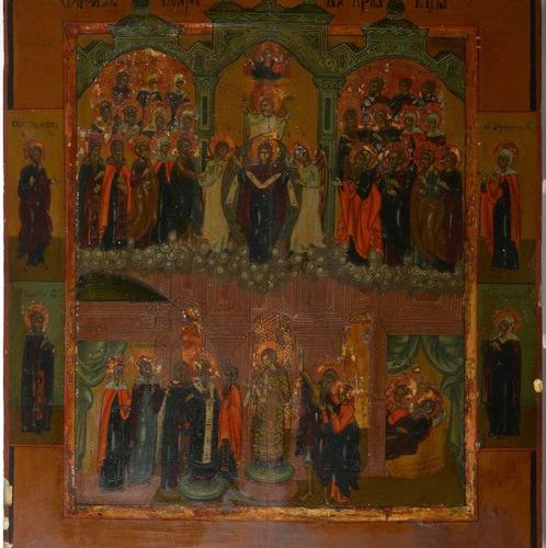 """Large icon painted on wood representing """"Pokrov"""" or """"The Protection of the Mothe…"""