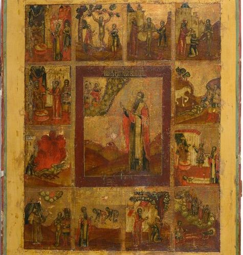 """Large icon painted on wood representing the """"Life of Saint Varlaam of Khutyne (?…"""