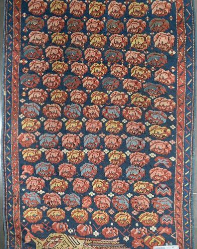 """Handmade wool Dagestan (?) rug decorated with a """"Peacock"""" and a stylised flower …"""