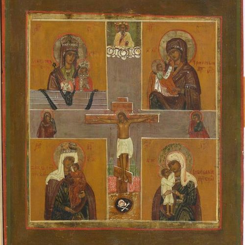 "Icon painted on wood representing ""Four Virgins with Child surrounding a Crucifi…"