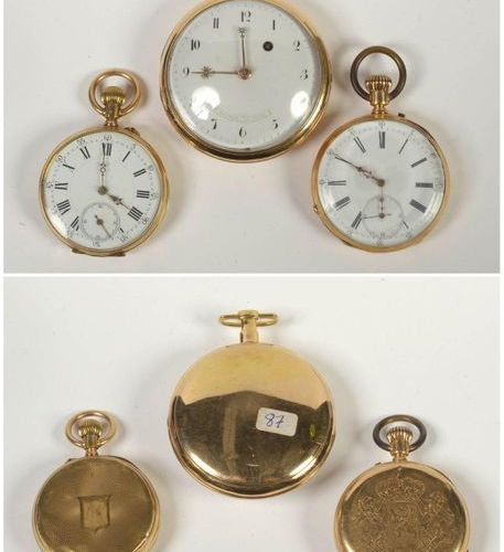 Three pocket watches in 18 carat yellow gold, one of which is signed Rourquin Le…