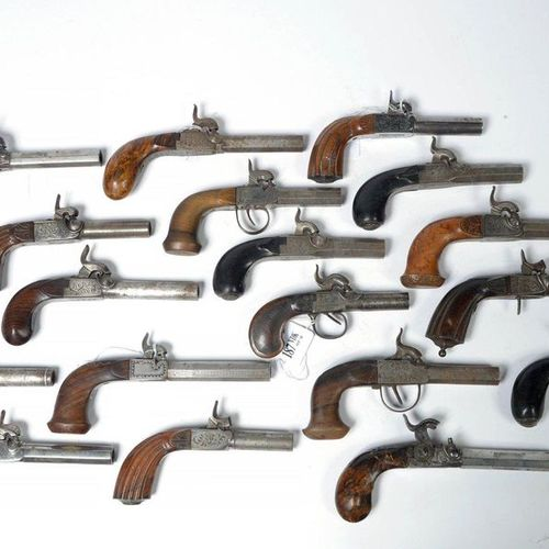 Collection of 18 pistols with wooden handle and steel barrel including two pairs…