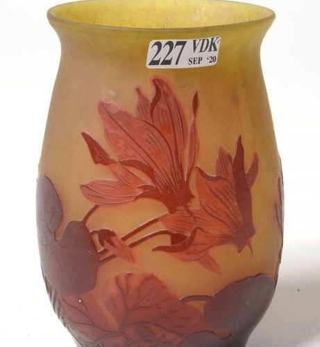 GALLÉ Émile (1846 1904) Small vase made of multilayer glass paste with red acid …