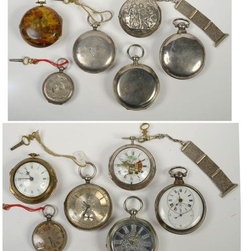 Six gusset watches: five are in silver with chiselled and painted decorations an…