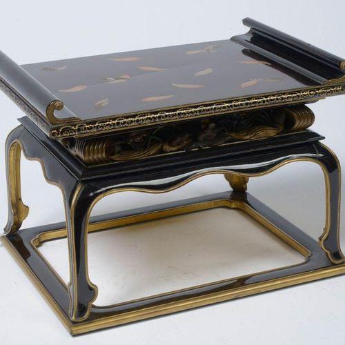 "Miniature Buddhist console with removable shelf, ""Kandai"" type, made of wood lac…"