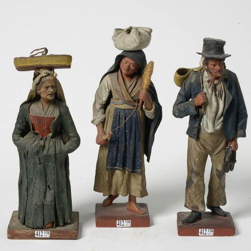 "Three ""Santons"" or ""Crib Characters"" in the guise of ""Italian Peasants"" in papie…"