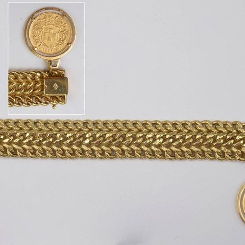18 karat yellow gold bracelet set with a 20 Swiss franc coin dated 1935 in 21.6 …