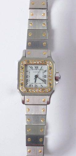 Cartier men's watch, Santos model in complete steel and 18 carat yellow gold set…